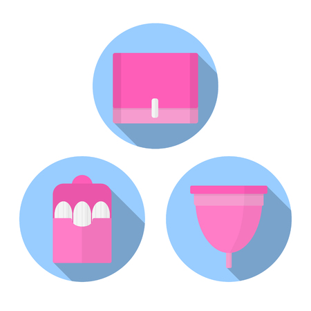 Icon flat vector set. Woman hygiene products - tampon, menstrual cup, sanitary