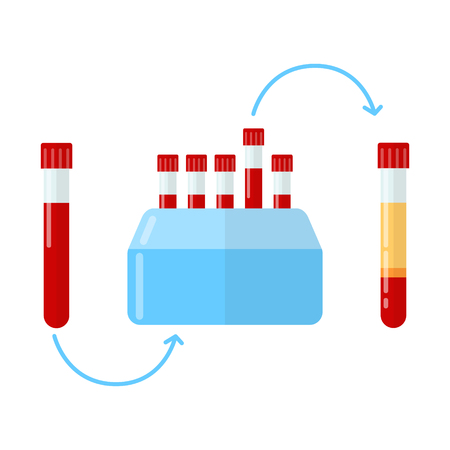 Centrifuge for making plasma in dentistry, dermatology and mesotherapy. Vector illustration in flat style