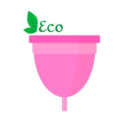 Menstrual cup - eco friendly, woman hygiene products. Vector flat Illustration