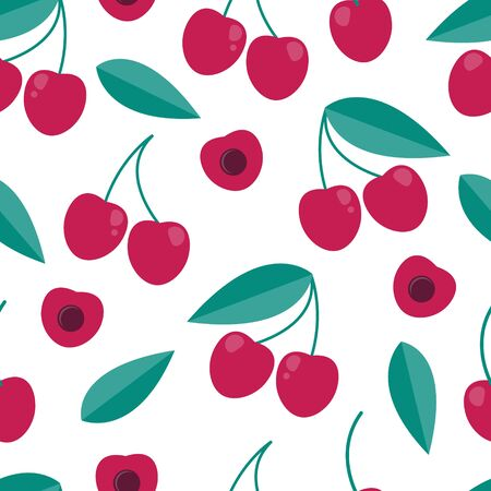 Cherry berry seamless pattern in flat style. vintage background. Illustration