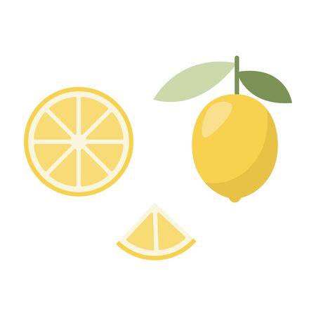 Icon of lemon. Fashion design for web, print. Exotic summer fruit. Illustration