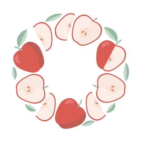 Frame of red apples, summer fruits, template for label in flat style.