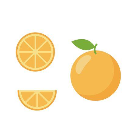 Icon set of orange fruit, vector illustration flat style. Ilustracja
