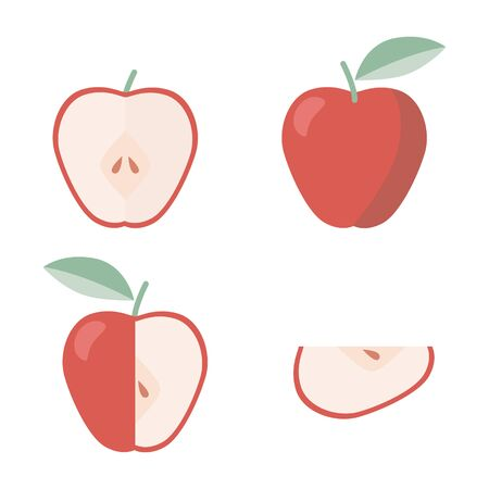 Icons set of apple in flat style, for print. Illustration