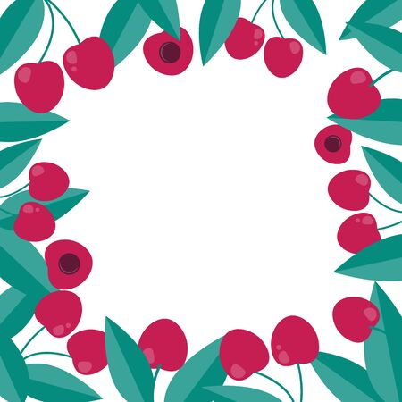 Cherry berry frame in flat style. decoration template.
