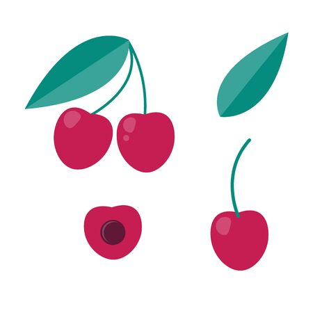 Set of icon cherry berry in flat style. graphic element.
