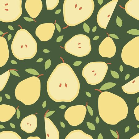 Dark green seamless pattern pear for print, fabric in flat style Illustration