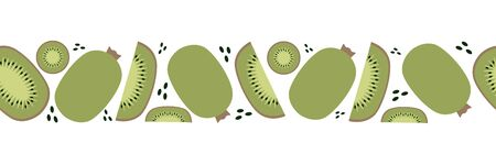 Seamless banner of kiwi, trendy plant, fabric in flat style