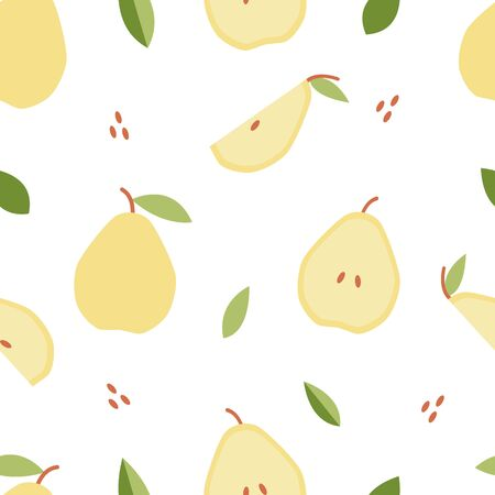 Seamless pattern pear for print, fabric in flat style. Illustration