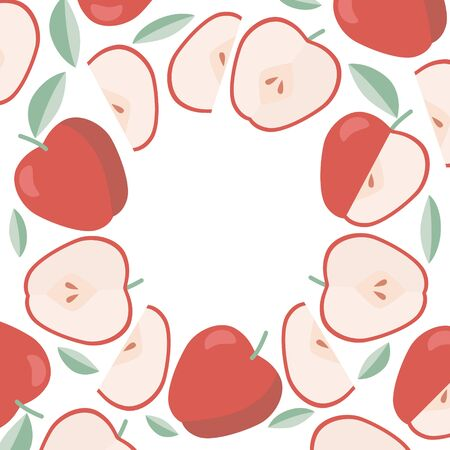Round frame apples, template for label in flat style.
