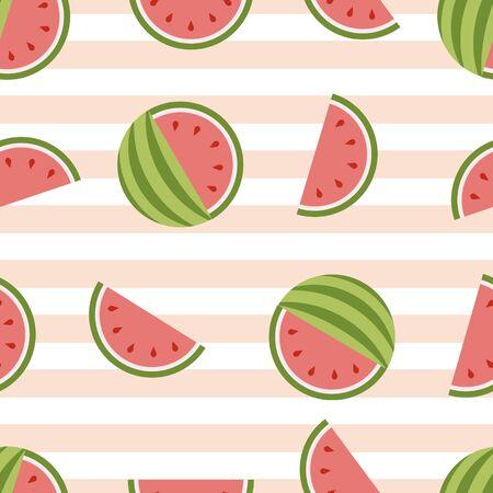 Watermelon vector seamless background. Healthy Fresh fruit Standard-Bild