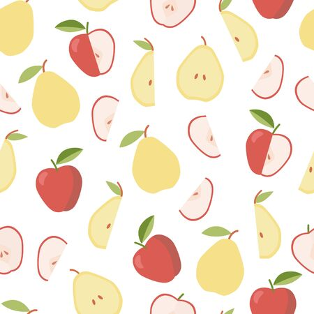 Colorful pattern with apple and pear. Summer, sweet food. Vegetable diet