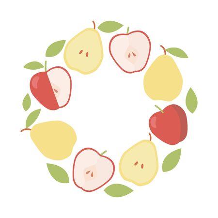 Organic ingredient. Vector frame background. Vintage apple and pear round border Illustration