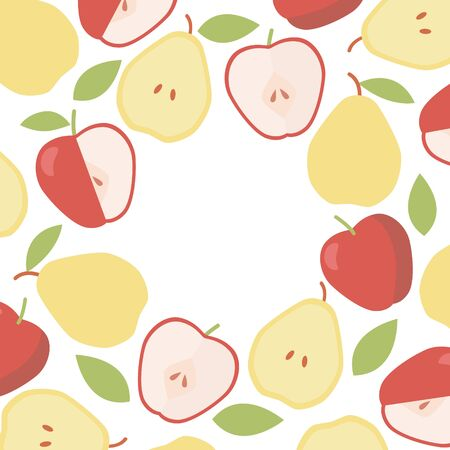 Vintage apple and pear round border. Organic ingredient. Vector frame background