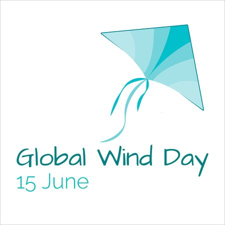 Icon of kite, eco technology, green energy, 15 June Global Wind Day