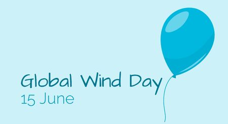 Conservation natural energy, Global Wind Day, banner for web with balloon