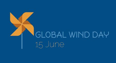 Save the planet, ecological energy, icon of pinwheel as a symbol of Global Wind Day Illustration