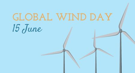 15 June Global Wind Day - banner for web, wind power symbol of ecological energy