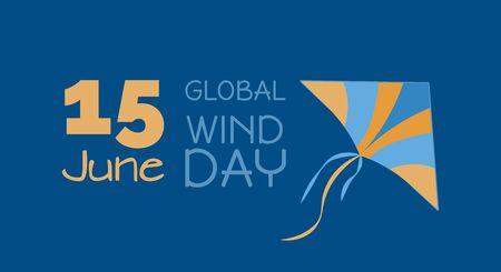 Ecological energy - 15 June Global Wind Day, kite, vector illustration Standard-Bild - 148612191