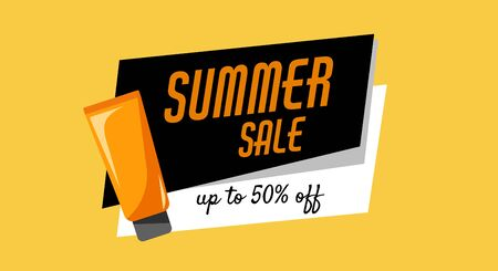 Summer sale, up to 50 off, orange tube of sunscreen product with spf. Every day care concept.