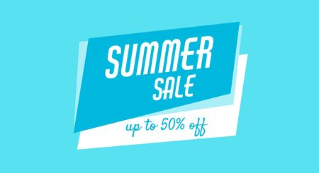 Blue banner, poster for web, site. Summer sale, up to 50 off. Cheap products. Illustration