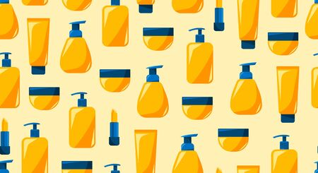 Decorative background for print, summer cosmeti s products, set of beauty bottles. Illustration