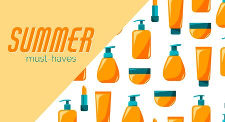 Poster of summer must-haves with spf for advertising, sunscreen bottle, tube. Illustration