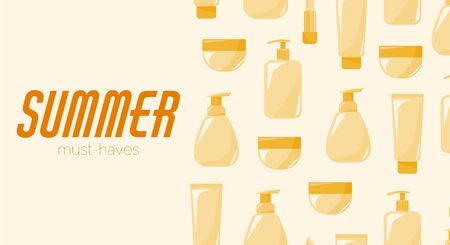 Summer must-haves banner for sunscreen products promotions. Skin protection concept.