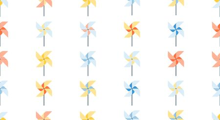 Pattern of pinwheel for web, print. Poster in origami style, games in park. Kids activity. Illustration