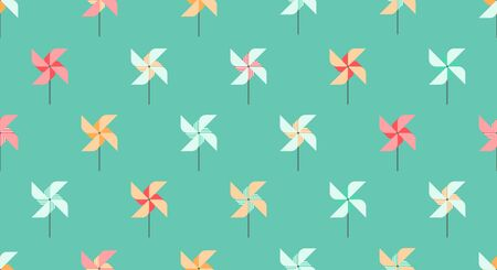 Background wind wheel or pinwheel, kids pattern, celebration holiday, summer games. Vectores