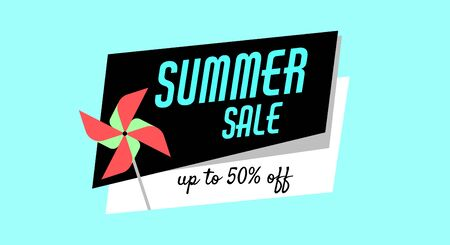 Summer sale of children games, toys, pinwheel for web, print. Shopping advertising banner, poster. Standard-Bild - 150402443