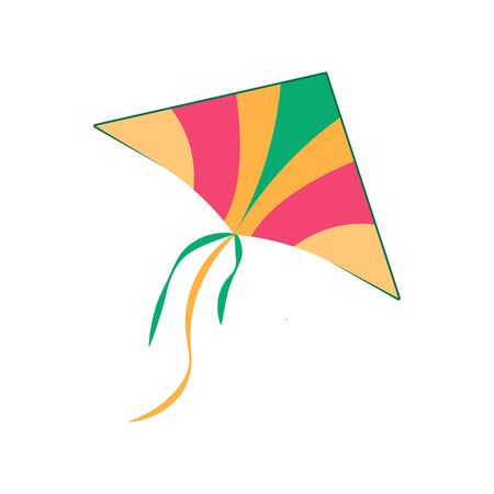 Icon of colorful kite, active games for kids in park. Vector illustration.