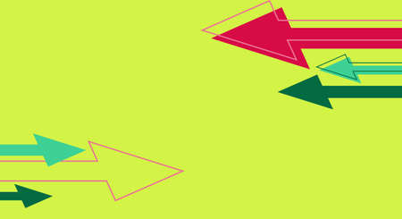 Green banner with red arrows. Trendy illustration of economy concept