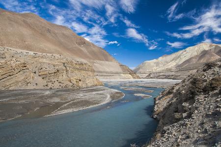 kali: JOMSOM, NEPAL - CIRCA NOVEMBER 2013: Kali Gandaki is a river in Nepal and India, a left tributary of the Ganges circa November 2013 in Jomsom.