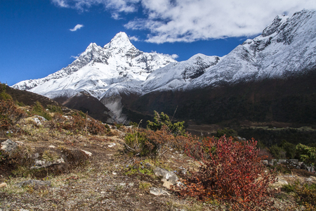 PANGBOCHE, NEPAL: view of Ama Dablam from Pangboche circa October 2013 in Pangboche.