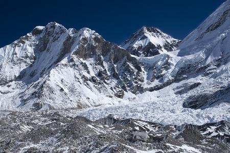 sherpa: GORAKSHEP, NEPAL - CIRCA OCTOBER 2013: view of the Himalayas (Lingtren, Khumbutse) out of the way to Everest Base Camp  circa October 2013 in Gorakshep Stock Photo