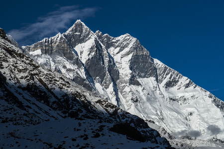 sherpa: DINGBOCHE, NEPAL - CIRCA OCTOBER 2013: view of the Lhotse circa October 2013 in Dingboche. Stock Photo
