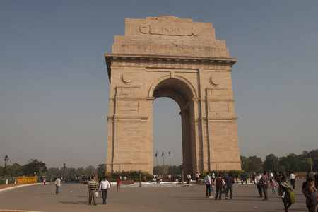 monument in india: DELHI, INDIA - CIRCA NOVEMBER 2013: The India Gate is a national monument of India circa November 2013 in Delhi.