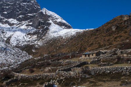 sherpa: GOKYO, NEPAL - CIRCA OCTOBER 2013: way between the Gokyo and Machhermo circa October 2013 in Gokyo.