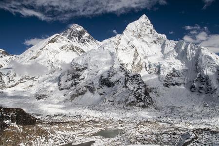 KALA PATTHAR, NEPAL - CIRCA OCTOBER 2013: view of the Everest and Nuptse from Kala Patthar circa October 2013 in Kala Patthar.