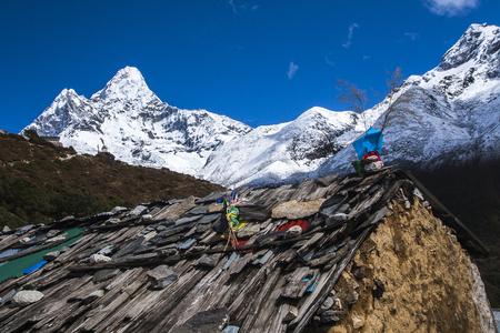 sherpa: PANGBOCHE, NEPAL - CIRCA OCTOBER 2013: view of Ama Dablam from Pangboche circa October 2013 in Pangboche.