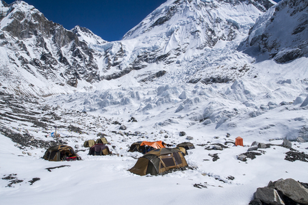 EVEREST BASE CAMP, NEPAL - CIRCA OCTOBER 2013: expedition at Everest Base Camp  circa October 2013 in Everest Base Camp. Stock Photo