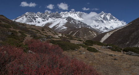 sherpa: SOMARE, NEPAL - CIRCA OCTOBER 2013: view of the Himalayas (Lhotse on the right) from Somare circa October 2013 in Somare