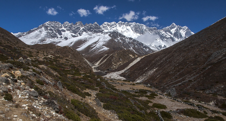 SOMARE, NEPAL - CIRCA OCTOBER 2013: view of the Himalayas (Lhotse on the right) from Somare circa October 2013 in Somare