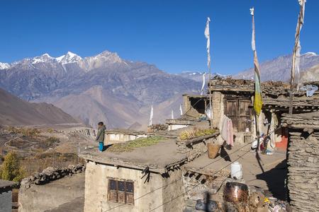 daily life: JHARKOT, NEPAL - CIRCA NOVEMBER 2013: the daily life of villagers Jharkot circa November 2013 in Jharkot.