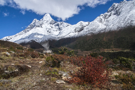 PANGBOCHE, NEPAL - CIRCA OCTOBER 2013: view of Ama Dablam from Pangboche circa October 2013 in Pangboche.