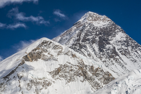 KALA PATTHAR, NEPAL - CIRCA OCTOBER 2013: view of the Everest from Kala Patthar circa October 2013 in Kala Patthar.