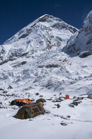 EVEREST BASE CAMP, NEPAL - CIRCA OCTOBER 2013: expedition at Everest Base Camp  circa October 2013 in Everest Base Camp. Stock Photo