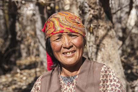 JHONG, NEPAL - CIRCA NOVEMBER 2013: Jhong village resident around Muktinath circa November 2013 in Jhong.
