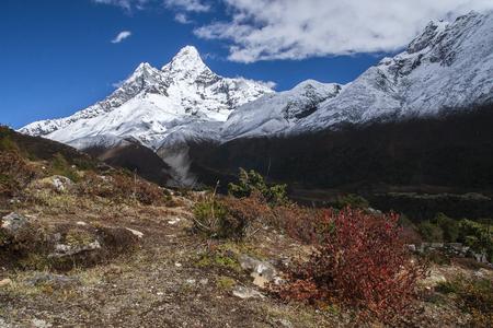 sherpa: PANGBOCHE, NEPAL: view of Ama Dablam from Pangboche circa October 2013 in Pangboche.